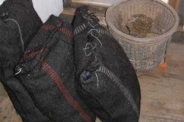 Yak hair bags used for carrying salt